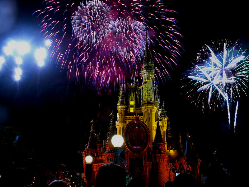 This is a composite photo of two fireworks bursts blended into one shot. The palm tree looking image to the right was added from a separate a photo taken in the same show. Magic Kingdom, Dec 2005.