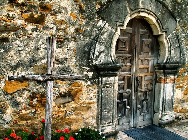 Chapel door at Mission Espada, San Antonio, Texas. If you love wood and stone surfaces with tons of character, a tour of the four main Spanish Missions around San Antonio offers a lot to enjoy.
