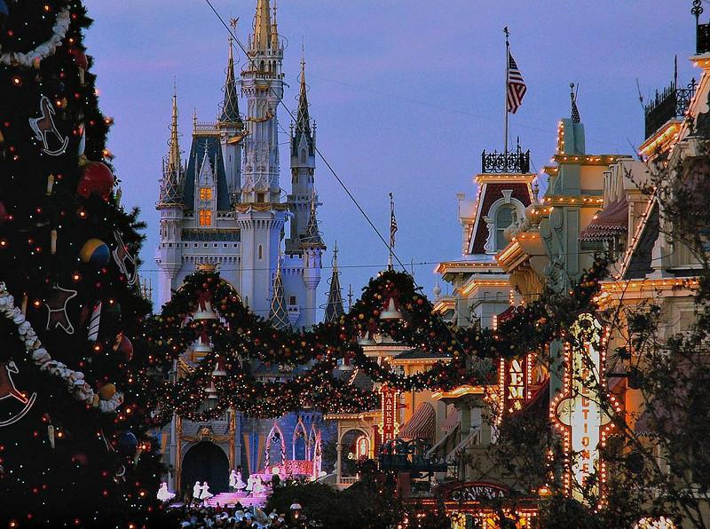 Night falls on Walt Disney World's Main Street USA, December 2005.