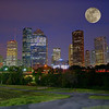 Composite of moon and Houston skyline, 2010