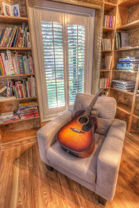 Lynne and I spent the 4th of July this year in CT. My excellent friend Max was having a house party, and before all the guests finished spreading out, I snapped this HDR of a guitar in the Library.   EF-S 10-22mm f/3.5-4.5 USM @ 10mm ISO 100, f/11 at 2, 6, and 15 seconds