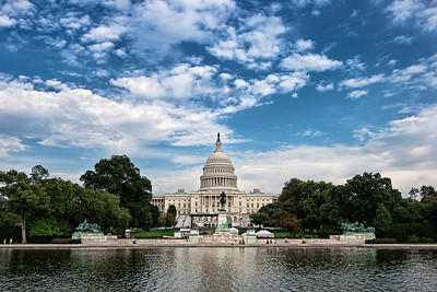 Capitol Building, Washington DC  It's been a while since I've updated. but I have good news for all you photo fans out there! Lynne and I just got back from another wonderful trip. This time (in case the photograph didn't tip you off) we visited our lovely capital, Washington DC. This means you can expect more updates from me in the coming weeks as I sort through and process the images I snapped!  We stayed in Fairfax VA for a week, and took the Metro into DC. Every day we went into DC it was supposed to be humid, and rain. Thankfully it didn't rain on us, and I never let the threat of rain deter me from bringing my camera with me!  This was taken on our last day in DC, which although hot and humid, was pretty ideal photo taking weather. It was bright, and there were some nice white clouds in the sky.  While many of my recent nature shots have been heavily reworked and layered, this image has had very little processing done to it. It's only a slight HDR, but it made a big difference. Enjoy!  EF-S10-20mm f/3.5-4.5 USM @ 22mm ISO200, f/8 at 1/500 sec exposure