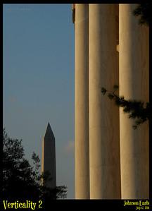 Verticality 2  The Washington Monument and columnade of the Jefferson Memorial.  Potomac River Tidal Basin, Washington, D.C. 17 July 2011