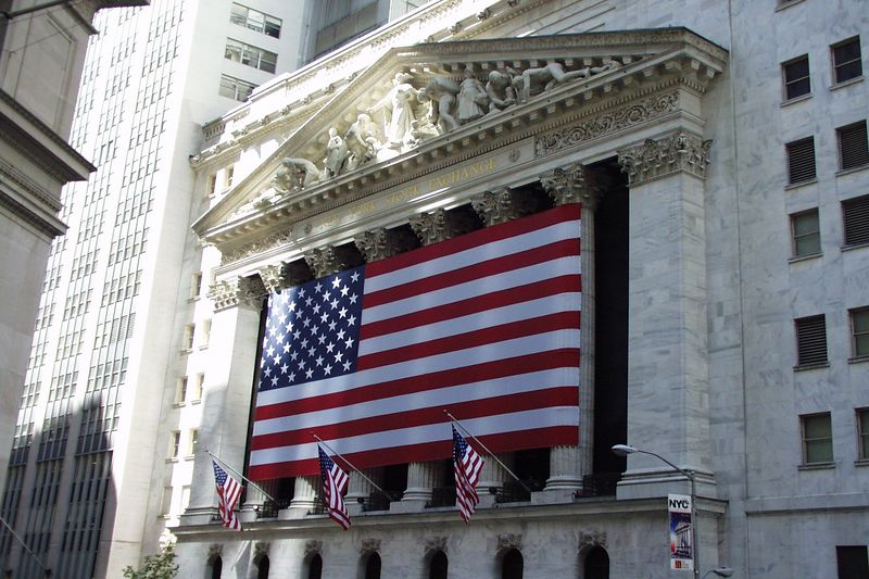 The front of the New York Stock Exchange.  This picture was taken on the 1-year anniversary of the 9/11 attack on the World Trade Center.
