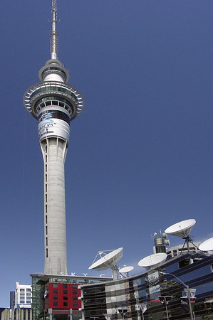 Sky Tower and TVNZ building Auckland New Zealand - Nov 2002