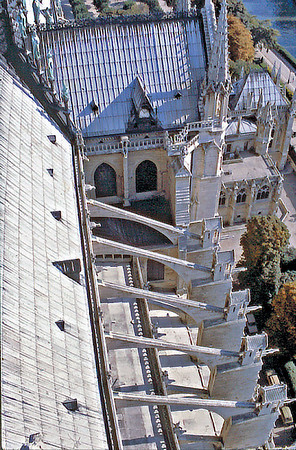 Flying buttresses Notre Dame de Paris France - Oct 1978