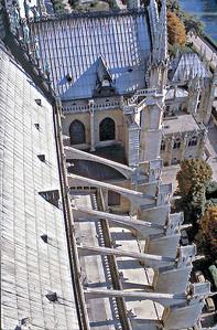 Flying buttresses Notre Dame de Paris France - Oct 1978