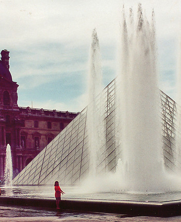 Lan by the Pei fountain Le Louvres Paris France - Jul 1996
