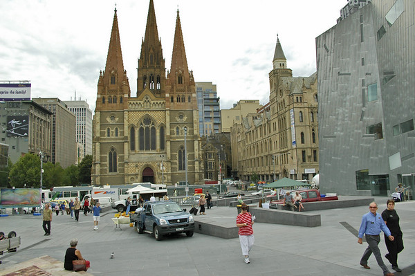 St Paul cathedral from Federation Square Melbourne