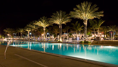 Fontainebleau pool deck at night