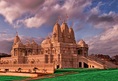 Lilburn, Georgia - BAPS Shri Swaminarayan Mandir Temple near Atlanta - is 72 feet high with 13 domes. The hand-carved pieces of Turkish limestone, Italian marble and Indian pink sandstone were shipped from India and assembled by volunteers with no metal or nails used anywhere. Artisans hand carve the ornate surfaces. I have been allowed to photograph inside and out.