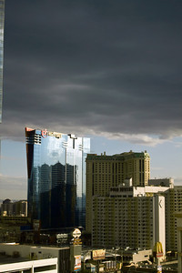 Storm moving in over the new Planet Hollywood Westgate hotel in Las Vegas