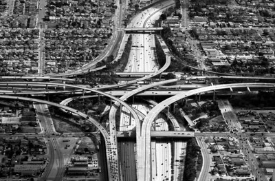 Los Angles, CA freeway, spaghetti bowl, arial shot B&W.