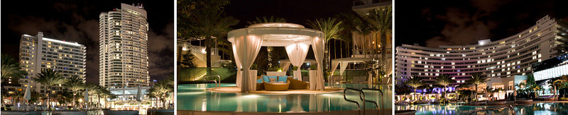Fontainebleau trio promo shot of pool areas at night. Miami, Florida