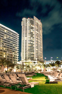 Fontainebleau hotel, Miami, FL from the pool deck.