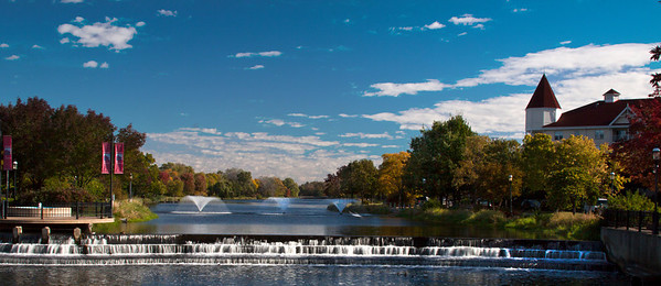 The falls at Fox River in Waukesha, WI looking back at the fountains to the east. Made in early fall 2010. The falls and river are low at this point, usually only one or two tiers are visible.