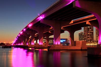 MacArthur Causeway at Sunset