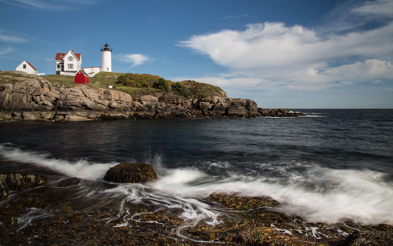Nubble Lighthouse and beach foam
