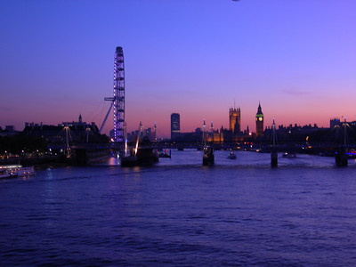 London, upriver from Waterloo Bridge, dusk, November 4, 2006