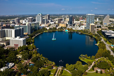 Aerial View of Lake Eola, Orlando, Florida