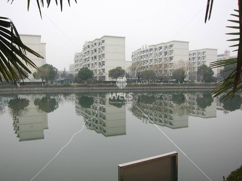 Shanghai University Campus Dormitory pond reflections, Shanghai, China by kstellick