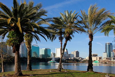 Orlando Skyline on lake Eola