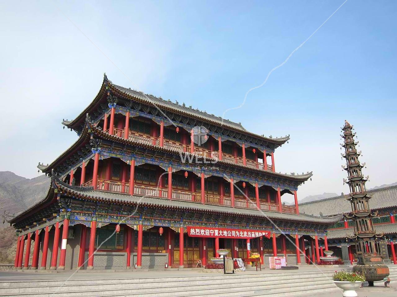 Buddhist temple in Ningxia Dawukou China by kstellick