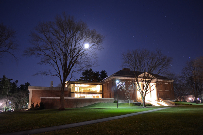 Full Moon over Addison Gallery, Winter, 2011, Phillips Academy, Andover, MA