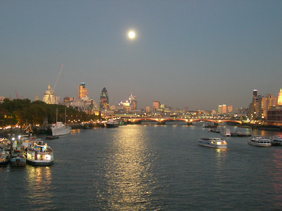 London downriver from Waterloo Bridge, dusk, Nov 4,2006