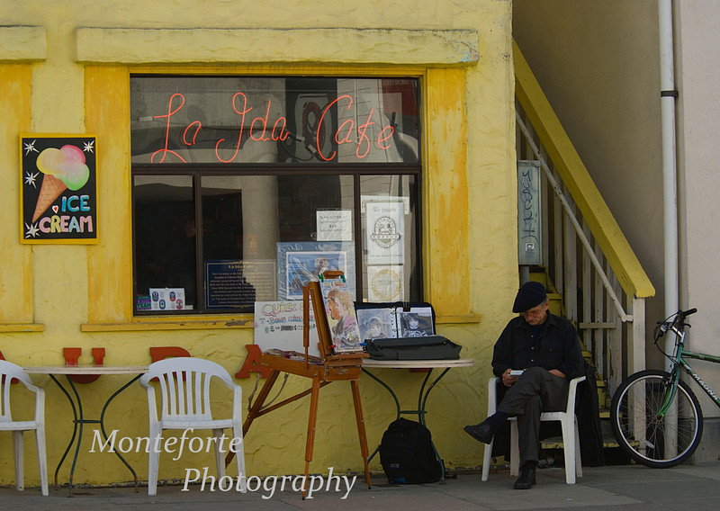 Caricature Artist and Kalisa's La Ida Cafe, Cannery Row Monterey Ca.