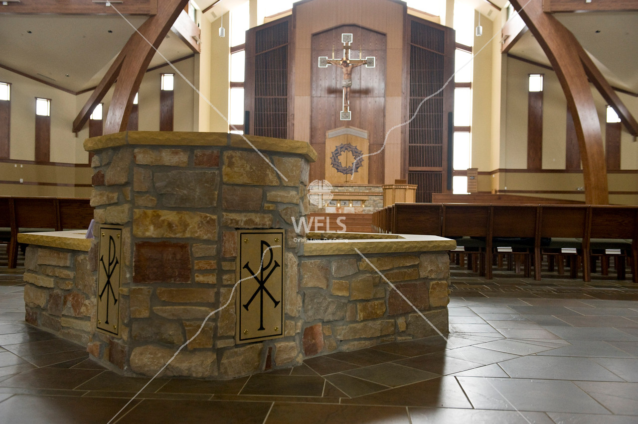Chapel of the Christ Altar and Baptismal Font by wpekrul