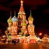<center><Strong>Night at Saint Basil's Cathedral in Moscow, Russia.<br> It is like a fairy tale castle, constructed from 1555 to 1560 and legend has it that after it was completed, Ivan had the architect blinded in order to prevent him from building a more magnificent building for anyone else. That is just as true as fairy tales, for in fact, he went on to build another cathedral in Vladimir.