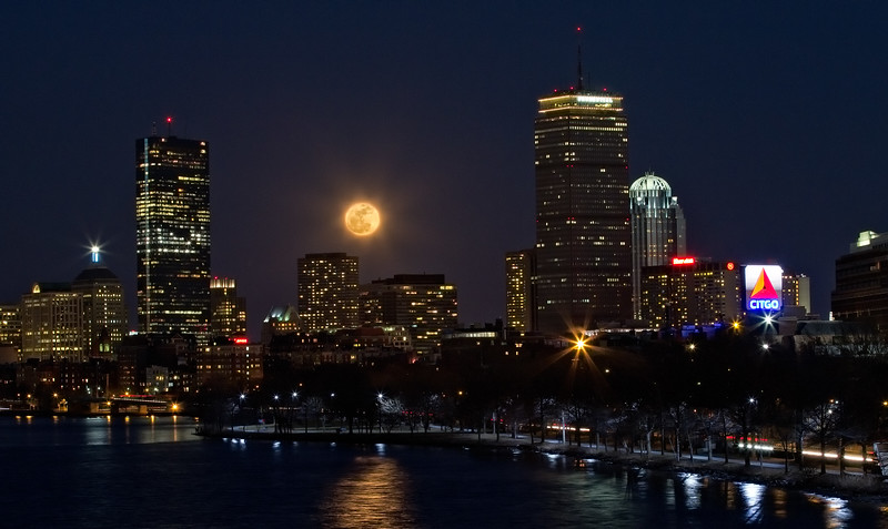 The Supermoon over Boston