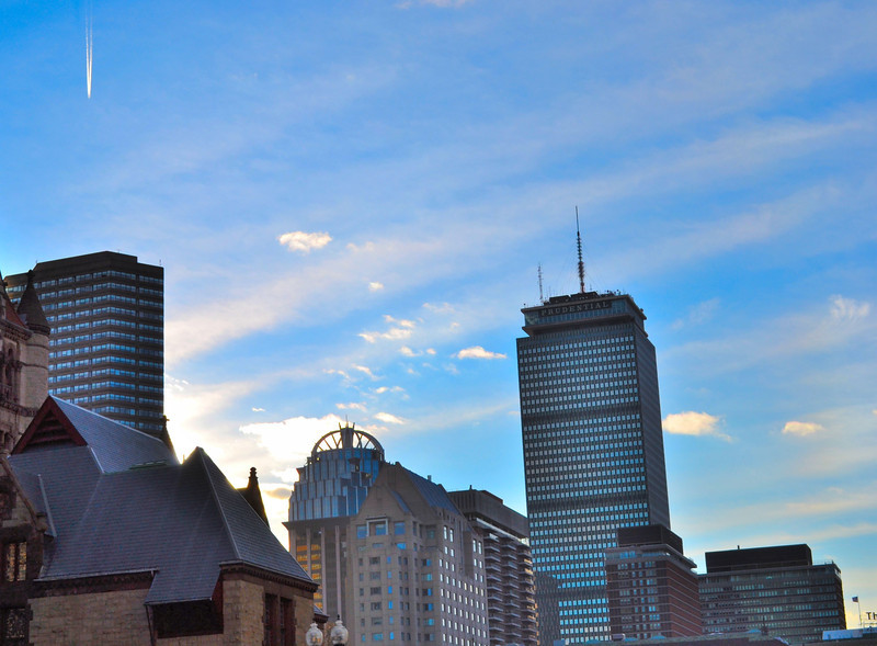 Space Age Effect of Sunset, Skyline, Boston, MA