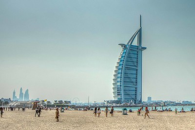 Distanced side view of the Burj Al Arab.