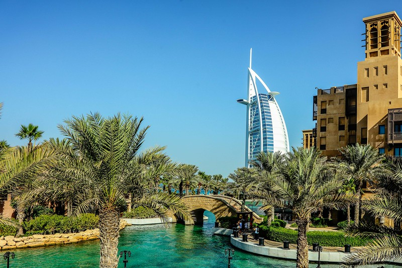 Distanced view of Burj Al Arab from the Souk Madinat Jumeirah.