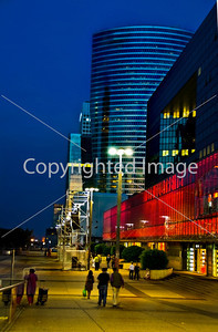 Paris, France-  Commercial Architecture, La Defense Business Center,  Corp. Headquarters Building, French  Energy Company. Street Scene Lit up at Night.