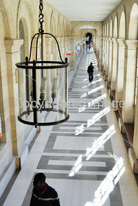 Paris, France-  High Angle View Inside Hallway of Paris Public Hospital, Lariboisiere