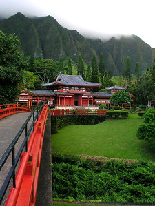 Valley of Temples and the Byodo-In Temple. This temple is a precise replica in concrete of a 900 year old temple in Uji, Japan. Valley of the Temples Memorial Park Kaneohe, East Oahu  A nondenominational cemetery, Japanese style, of unsurpassed beauty with the Koolau Mountains in the background. Wild peacocks, a two acre pond holds over 10,000 carps of all color and sizes, oriental gardens, and a 9-foot tall Buddha can be seen here.