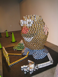 Mr. Potatohead made out of tuna cans?