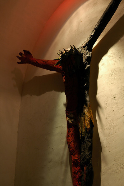 a friend created this Christ statue in paper mache - t follows the paint scheme of the well known Baja cave paintings