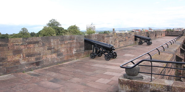 Looking along the north wall.<br /> Carlisle Castle<br /> 25 July 2015