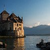Chillon Castle on Lake Geneva with mermaid