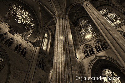 St John the Divine Nave view of upper stained glass windows, Sepia