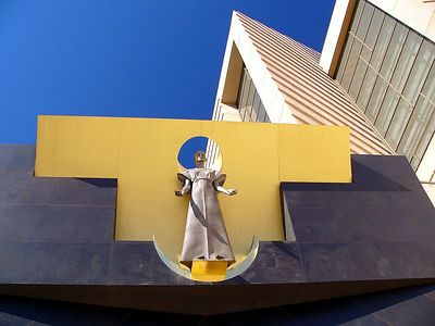 Contemporary                                                                                                                                  statue                                                                                                                                  of                                                                                                                                  Our                                                                                                                                  Lady                                                                                                                                  of                                                                                                                                  the                                                                                                                                  Angels