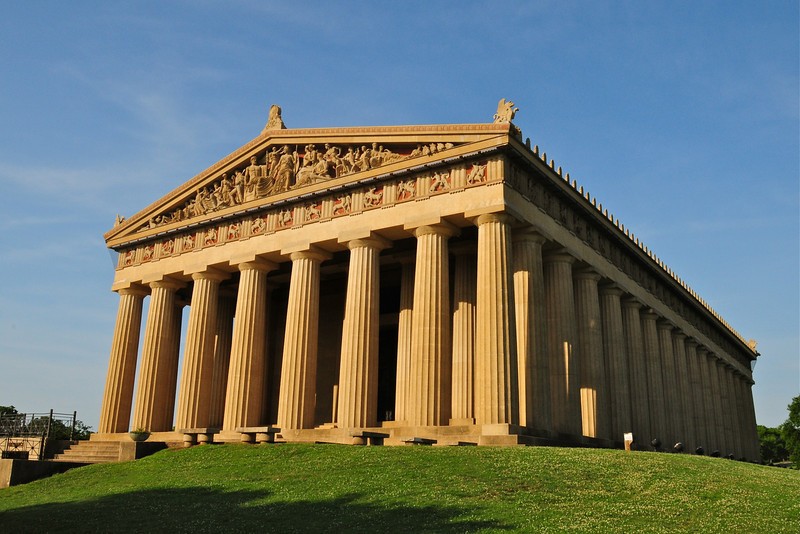 The Parthenon as viewed from the east, highlighting the octostyle portico and pediment