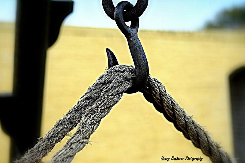 Rope canon hoist<br /> Ft. Moultrie<br /> Sullivan's Island SC