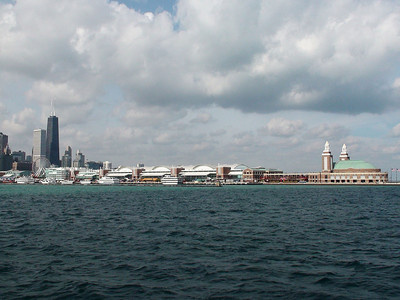 Navy Pier from lake Michigan