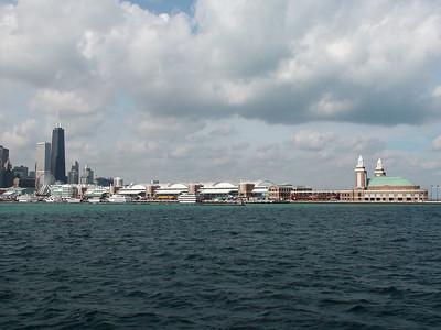 Navy Pier from lake Michigan