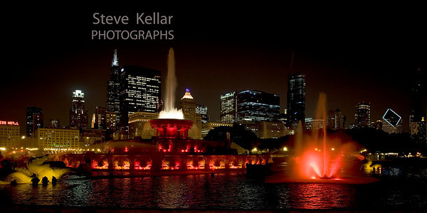 Red Buckingham Fountain.